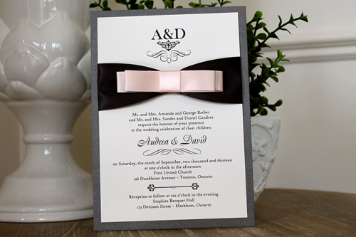 Wedding Invitation 1111: Charcoal Pearl, Cream Smooth, Boulevard, High Tower, Deep Charcoal Ribbon, Petal Pink Ribbon, Petal Pink Ribbon, Petal Pink Ribbon