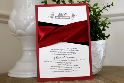 Wedding Invitation 1113: Red Lacquer, Cream Smooth, Origins, High Tower, Sherry Ribbon, Sherry Ribbon, Black Ribbon