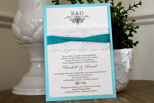 Wedding Invitation 1114: Tiffany Pearl, Cream Smooth, Devon, High Tower, Antique Ribbon, Peacock Ribbon, Cream Lace