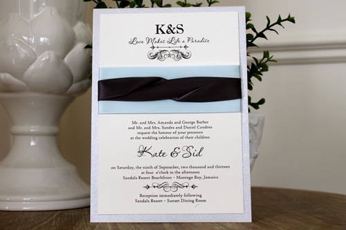 Wedding Invitation 1115: Silver Ore, Cream Smooth, Passions, High Tower, Icy Blue Ribbon, Deep Charcoal Ribbon, Deep Charcoal Ribbon