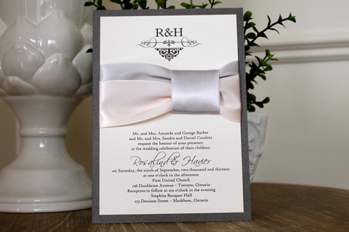 Wedding Invitation 1117: Charcoal Pearl, Cream Smooth, Scriptina, High Tower, Silver Ribbon, Petal Pink Ribbon, Silver Ribbon