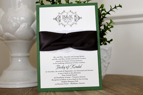 Wedding Invitation 1118: Green Pearl, Cream Smooth, Beau Rivage, High Tower, Deep Charcoal Ribbon, Deep Charcoal Ribbon, Cream Lace