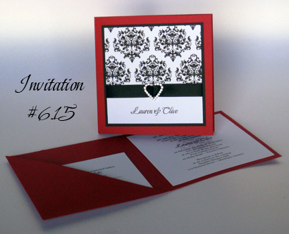 Invitation 615 Red Linen Black Linen White Smooth Beau Rivage Bell