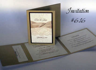 Invitation 616 Gold Pearl Chocolate Linen Cream Smooth Sloop