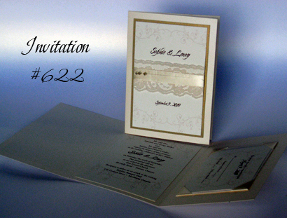 Invitation 622: Ivory Pearl, Gold Pearl, Cream Smooth, Cherish, Adobe Jenson Pro Light, Cream Ribbon