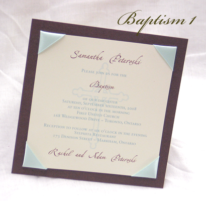 Invitation Baptism1: Brown Pearl, Cream Smooth, Zaphino One, Sabon Roman, Light Blue Ribbon
