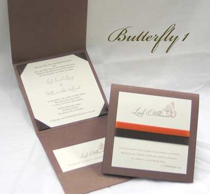 Invitation Butterfly1: Brown Pearl, Cream Smooth, Miss Le Gatees, Sabon Roman, Brown Ribbon, Orange Ribbon