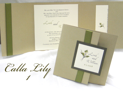 Invitation CallaLily1: Gold Pearl, Sage Pearl, Cream Smooth, Zaphino One, Sabon Roman, Sage Ribbon
