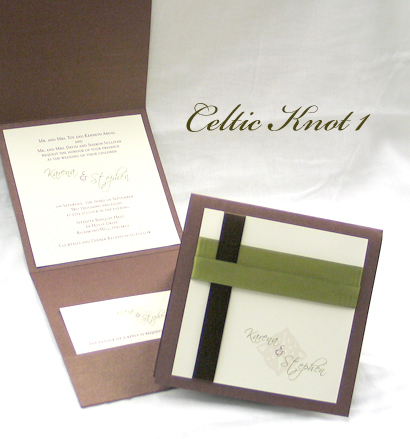 Invitation CelticKnot1: Brown Pearl, Cream Smooth, Scriptina, Sabon Roman, Brown Ribbon, Sage Ribbon