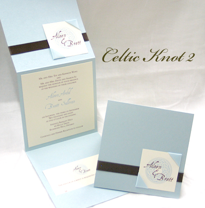Invitation CelticKnot2: Blue Aspire Pearl, White Smooth, Aqualine, Sabon Roman, Brown Ribbon, Light Blue Ribbon