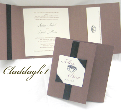Invitation Claddagh1: Brown Pearl, Cream Smooth, Zaphino One, Sabon Roman, Black Ribbon