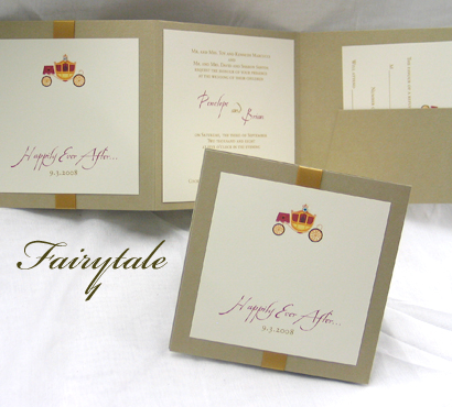 Invitation Fairytale1: Gold Pearl, Cream Smooth, Aqualine, Sabon Roman, Gold Ribbon