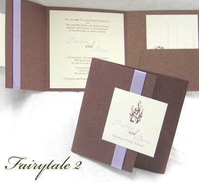 Invitation Fairytale2: Brown Pearl, Cream Smooth, Zaphino One, Sabon Roman, Lavender Ribbon