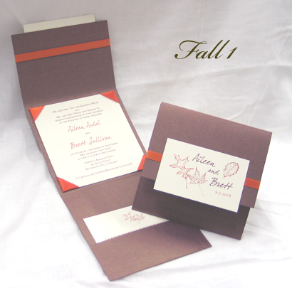 Wedding Invitation Fall1 Brown Pearl Cream Smooth