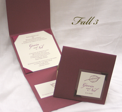 Invitation Fall3: Burgundy Linen, Black Pearl, Cream Smooth, Bickham Script 2, Sabon Roman, Wine Ribbon, Sage Ribbon