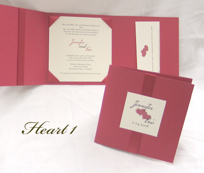 Invitation Heart1: Red Linen, Cream Smooth, Cezanne, Sabon Roman, Red Ribbon