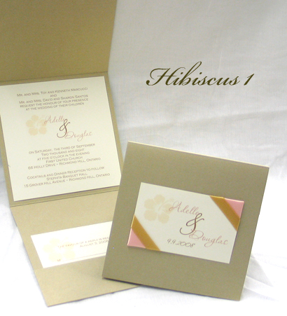 Invitation Hibiscus1: Gold Pearl, Cream Smooth, Passions, Sabon Roman, Gold Ribbon, Coral Ribbon