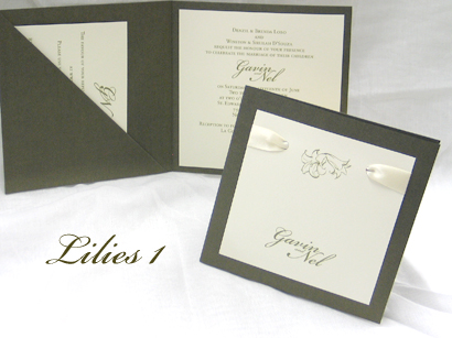 Invitation Lilies1: Sage Pearl, Cream Smooth, Bickham Script 2, Sabon Roman, Cream Ribbon