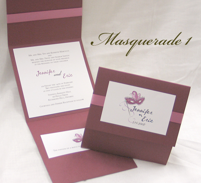 Invitation Masquerade1: Burgundy Linen, Cream Smooth, Cezanne, Sabon Roman, Dusty Rose Ribbon