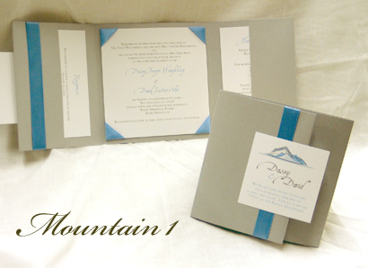 Invitation Mountain1: Gold Dust, Cream Smooth, Aqualine, Sabon Roman, Turquoise Ribbon