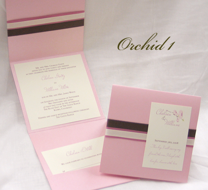 Invitation Orchid1: Pink Pearl, Cream Smooth, Miss Le Gatees, Sabon Roman, Brown Ribbon, Dusty Rose Ribbon, Cream Ribbon