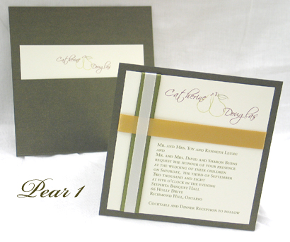 Invitation Pear1: Sage Pearl, Cream Smooth, Scriptina, Sabon Roman, Sage Ribbon, Gold Ribbon, Cream Ribbon