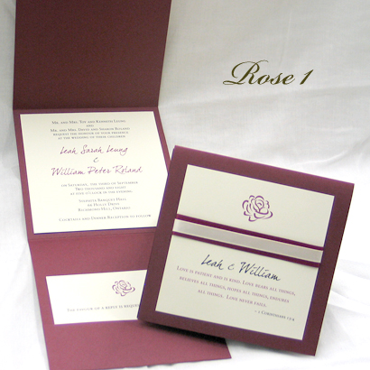 Invitation Rose1: Burgundy Linen, Cream Smooth, Burgues Script, Sabon Roman, Wine Ribbon, Cream Ribbon