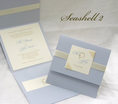 Invitation Seashell2: Blue Plasma Pearl, Cream Smooth, Sloop, Sabon Roman, Cream Ribbon, Cream Ribbon