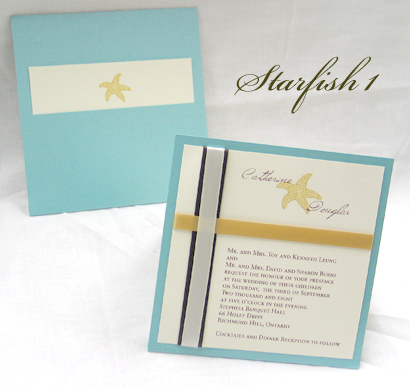 Invitation Starfish1: Tiffany Pearl, Cream Smooth, Carpenter, Sabon Roman, Brown Ribbon, Cream Ribbon, Gold Ribbon