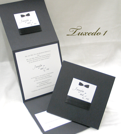 Invitation Tuxedo1: Black Linen, White Smooth, Aqualine, Sabon Roman, Black Ribbon, Black Ribbon