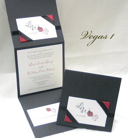 Invitation Vegas1: Black Linen, White Smooth, Passions, Sabon Roman, Black Ribbon, Red Ribbon