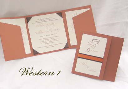 Invitation Western1: Copper Pearl, Cream Smooth, Scriptina, Sabon Roman, Brown Ribbon, Orange Ribbon