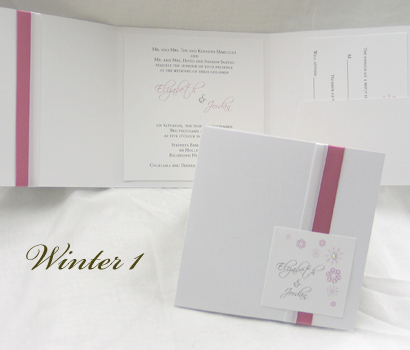 Invitation Winter1: White Pearl, White Smooth, Scriptina, Sabon Roman, White Ribbon, Dusty Rose Ribbon