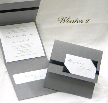 Invitation Winter2: Charcoal Pearl, White Smooth, Carpenter, Sabon Roman, Black Ribbon, Black Ribbon