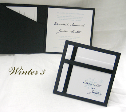 Invitation Winter3: Black Linen, White Smooth, Jane Austen, Sabon Roman, Black Ribbon, Black Ribbon, White Ribbon
