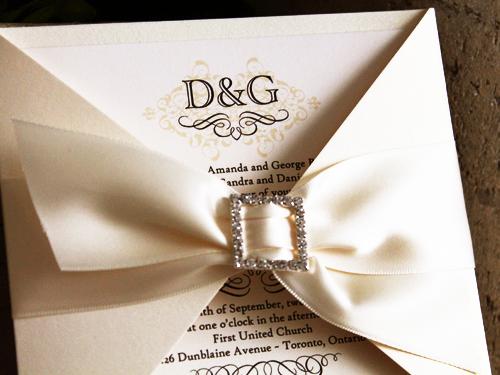 Cream And Gold Wedding Invitations: Wedding Invitation 702: White Gold, Cream Smooth