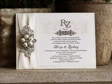 Invitation 717: White Gold, Cream Smooth, Majestic, High Tower, Antique Ribbon, Brooch/Buckle T, Metal Filigree F4 - Silver