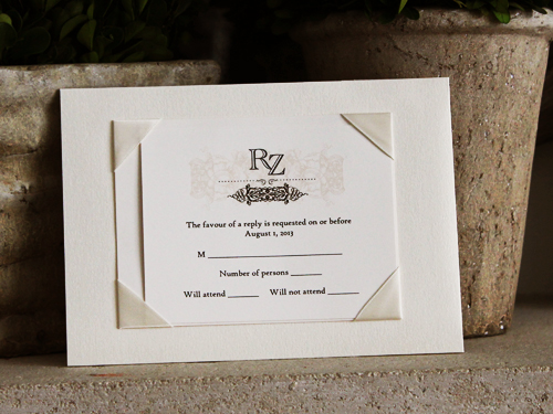 Wedding Invitation 717 White Gold Cream Smooth – Custom Wedding Invitations Canada