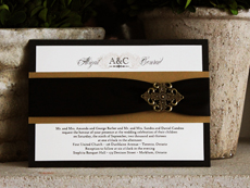 Invitation 726: Black Linen, Kings Gold Pearl, Cream Smooth, Yves Script, High Tower, Black Ribbon, Metal Filigree F4 - Bronze
