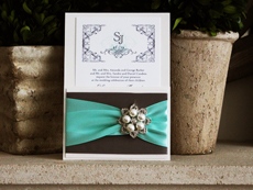 Invitation 739: Antique Pearl, White Smooth, Charcoal Ribbon, Charcoal Ribbon, Aqua Ribbon, Aqua Ribbon, Brooch/Buckle T