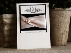 Invitation 741: White Gold, Black Pearl, Cream Smooth, Beau Rivage, High Tower, Black Ribbon, Black Ribbon, Blush Ribbon, Blush Ribbon, Brooch/Buckle L