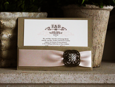 Invitation 743: Gold Pearl, Gold Pearl, Cream Smooth, Duet, High Tower, Blush Ribbon, Brooch/Buckle A8