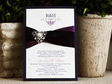 Invitation 759: Navy Pearl, Cream Smooth, Scriptina, High Tower, Grape Ribbon, Navy Ribbon, Brooch/Buckle A1
