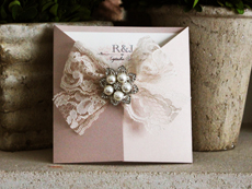 Invitation 762: Blush Pearl, Cream Smooth, The Nauti Gal, High Tower, Cream Lace, Brooch/Buckle T