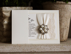 Invitation 768: White Gold, Buttermilk Pearl, Cream Smooth, Easy Street, High Tower, Antique Ribbon, Antique Ribbon, Cream Lace, Brooch/Buckle T