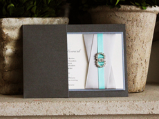 Invitation 769: Charcoal Pearl, Galvanized Dark Silver, Cream Smooth, Devon, High Tower, Silver Ribbon, Silver Ribbon, Aqua Ribbon, Brooch/Buckle C