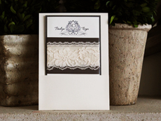 Invitation 781: Ivory Pearl, Charcoal Pearl, Cream Smooth, The Nauti Gal, High Tower, Charcoal Ribbon, Antique Ribbon, Cream Lace