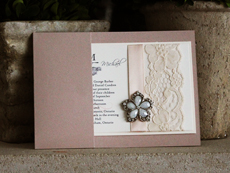 Invitation 783: Blush Pearl, Ivory Pearl, Cream Smooth, Scriptina, High Tower, Blush Ribbon, Cream Lace, Brooch/Buckle A7