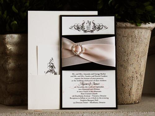 Wedding Invitation 741 White Gold Black Pearl Cream Smooth Beau Rivage